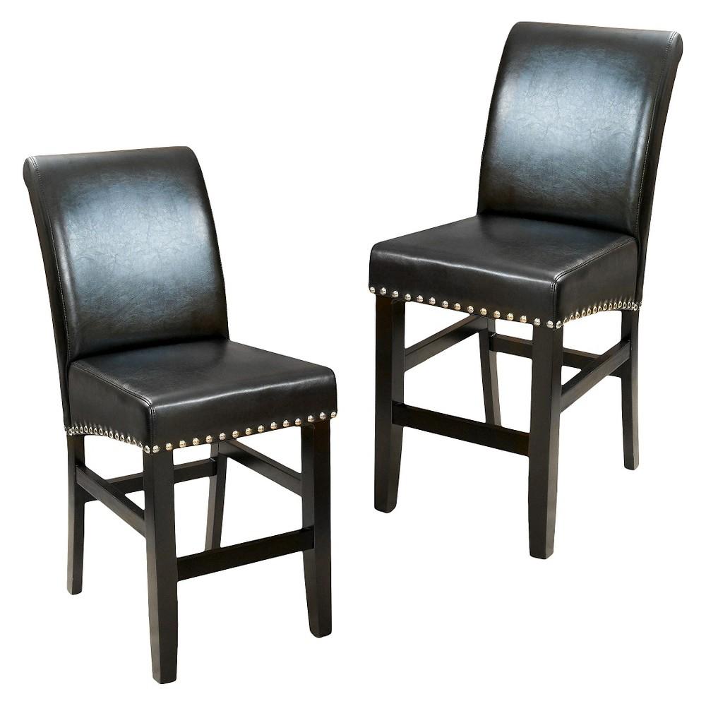 Set of 2 Christopher Knight Home Lissette leather Barstool - Black