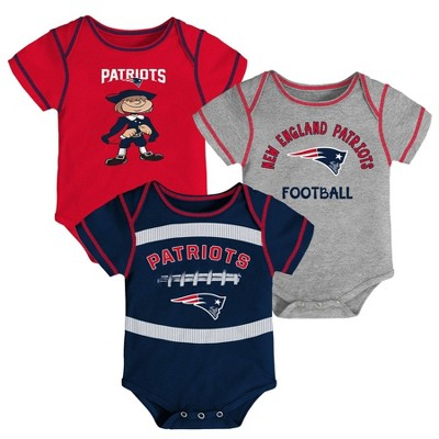 NFL New England Patriots Baby Boys' Newest Fan 3pk Bodysuit Set - 0-3M