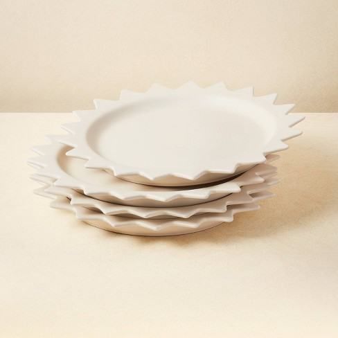 """10"""" 4pk Stoneware Pointed Sun Dinner Plates White - Opalhouse™ designed with Jungalow™ - image 1 of 4"""