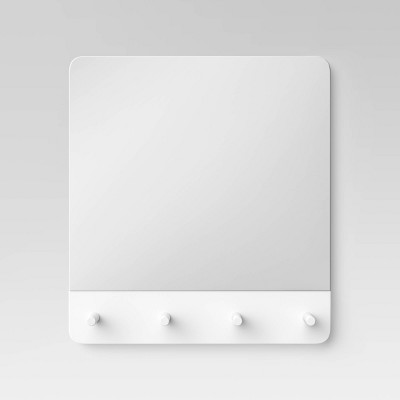 "14"" x 14"" Wall Mirror with Pegs White - Room Essentials™"