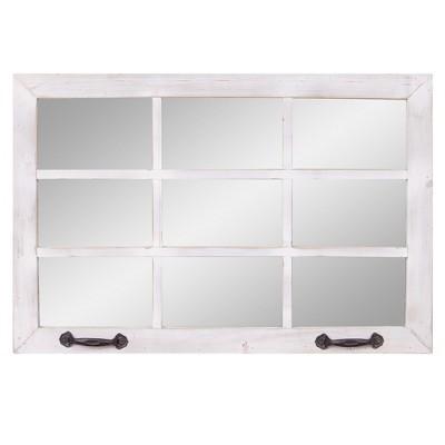 "24""x36"" Distressed Windowpane Wall Accent Mirror White - Patton Wall Decor"