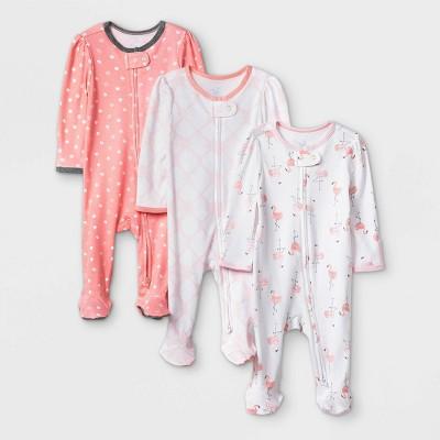 Baby Girls' 3pk Flamingo Zip-Up Sleep N' Play - Cloud Island™ Coral/White 6-9M