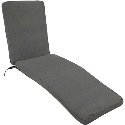 Indoor/Outdoor Chaise Lounge Cushion - Gray - Sunnydaze Decor