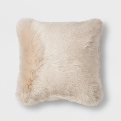 Long Faux Fur Square Throw Pillow Cream - Threshold™