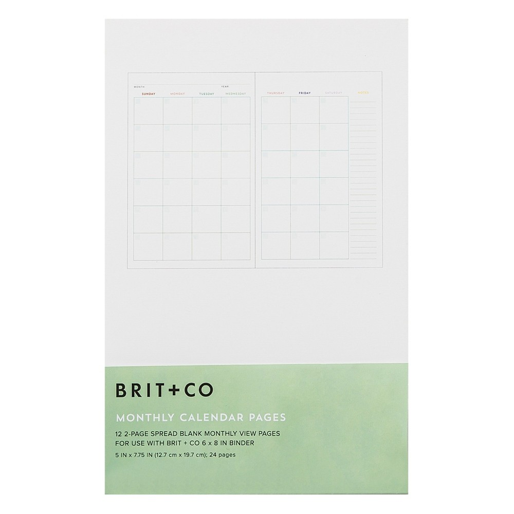Brit + Co Calendar Pages Insert - Monthly, Multicolored