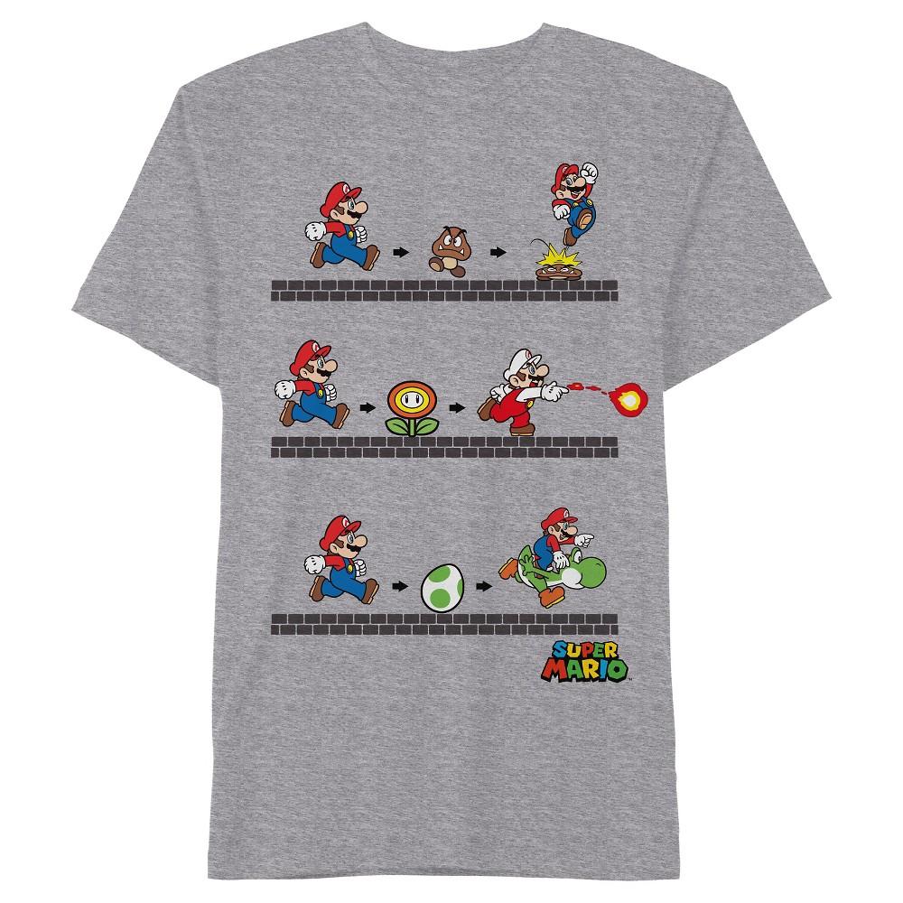 Boys' Nintendo Super Mario T-Shirt - Gray XS, Heather Gray