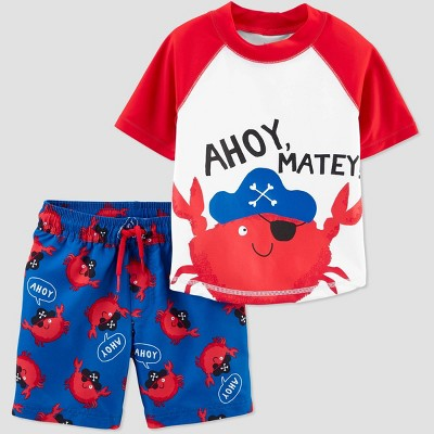 Toddler Boys' Crab Swim Rash Guard Set - Just One You® made by carter's Red 12M