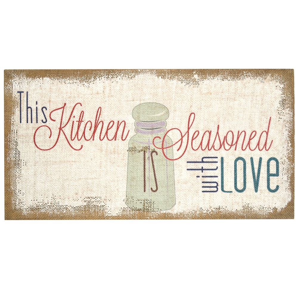 """Image of """"10"""""""" x 20"""""""" 'Seasoned with Love' Typography Burlap Decorative Wall Art Decor - Stratton Home"""""""