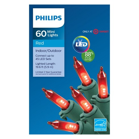 philips 60ct christmas led smooth mini string lights red gw target