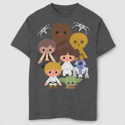 Boys' Star Wars Kawaii Heroes T-Shirt - Gray