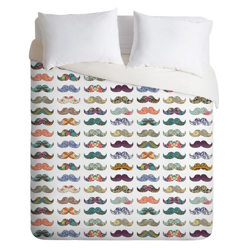 Mustache Mania Lightweight Duvet Cover - Deny Designs® - image 1 of 1