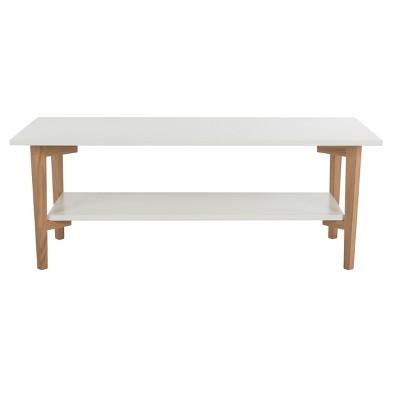 Caraway Rectangle Coffee Table   White / Oak   Safavieh®