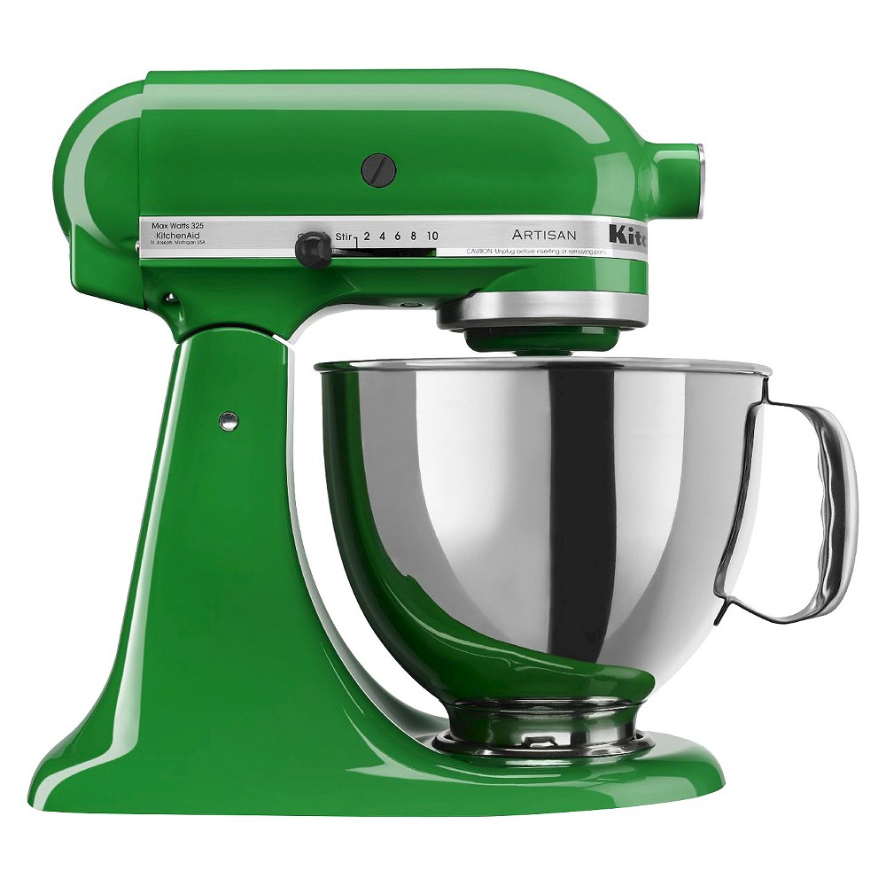 KitchenAid Artisan Series 5qt Tilt-Head Stand Mixer - KSM150PSCG, Canopy Green Whether you're looking for a housewarming or wedding gift, or simply looking to add a versatile tool to your own kitchen, this KitchenAid Artisan Stand Mixer is the perfect solution. It features 10 different speed settings, a tilt-head design, and a 5-quart stainless steel mixing bowl that fits a variety of different mixing needs. This electric stand mixer comes with a dough hook, flat beater, wire whisk and pouring shield so you can create a wide range of baked goodies or recipes with ease. The accessory hub on the front of the mixer allows you to buy additional attachments to utilize this mixer even more. This sturdy and durable stand mixer has a 325-watt motor that can handle the thickest doughs or mixing-intense recipes with ease. The sleek and modern design will add a pop of style to any kitchen countertop and will always be at your fingertips when you need to whip up baked goodies or homemade recipes. Color: Canopy Green.