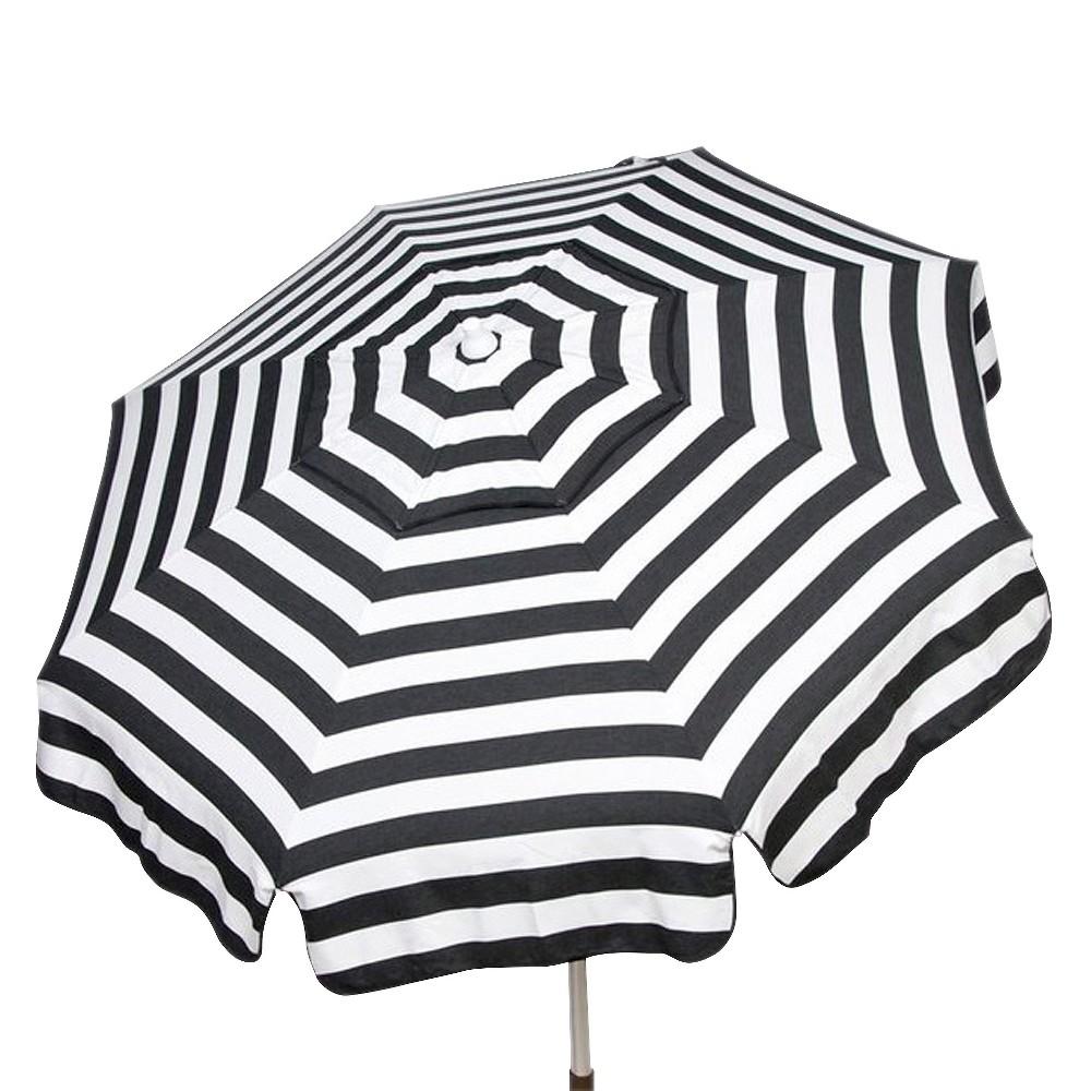 Image of 6' Italian Aluminum Collar Tilt Bar Height Patio Umbrella - Parasol, White Black