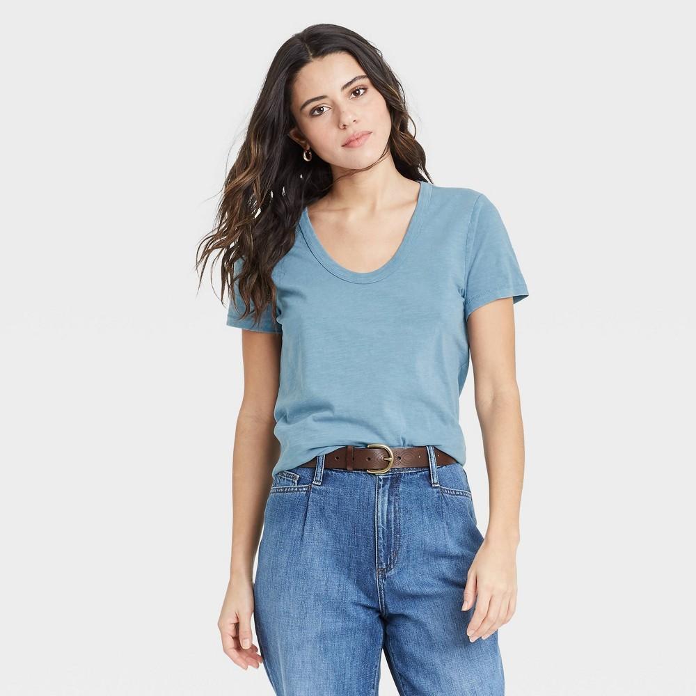 Women 39 S Short Sleeve Scoop Neck T Shirt Universal Thread 8482 Blue Xxl