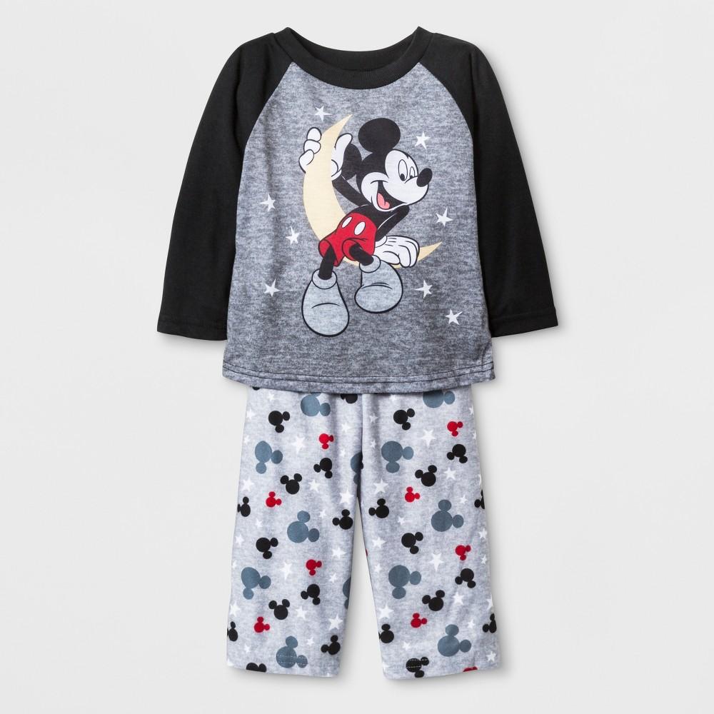 Baby Boys' Mickey Mouse 2pc Poly Pajama Set - Black 18M