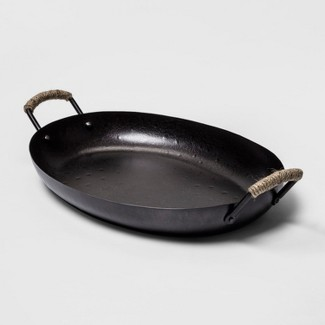 """11"""" x 18.1"""" Iron Serving Tray With Handles Black - Threshold™"""