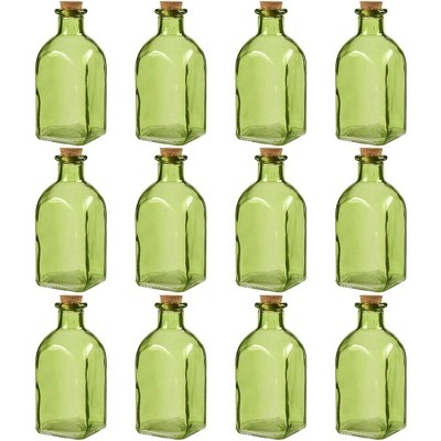 Juvale Clear Glass Bottles Cork Lids, 12 Pack Small Green Transparent Jars Stoppers Vintage Wedding Decoration Home Party Favors 4.75 X 2 X 2 Inches