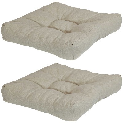 """Sunnydaze Indoor/Outdoor Replacement Square Tufted Patio Chair Seat and Back Cushions - 20"""" - Beige - 2pk"""