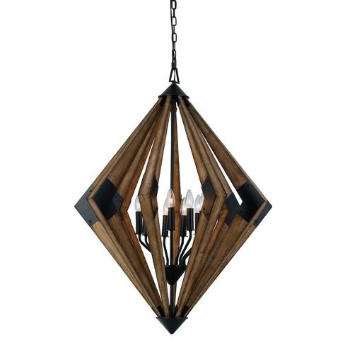 "Arezzo Wood Chandelier Light Brown 33.9""x12.3"" - Cal Lighting - image 1 of 2"