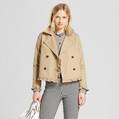 0bf53ff48fb2 Women s Cropped Ruffle Trench Coat - Who What Wear™ Tan   Target