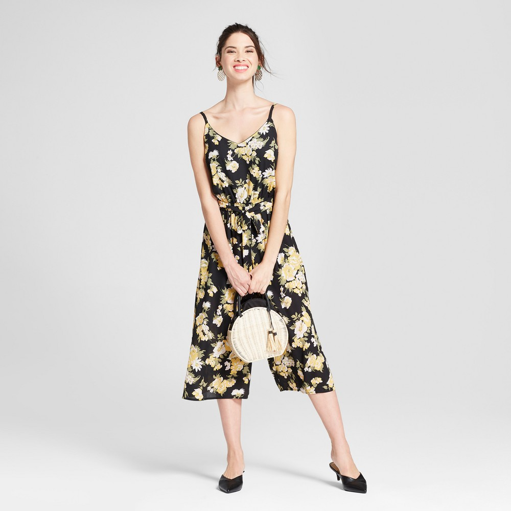 Women's Floral Print Jumpsuit - Lily Star (Juniors') Black S, Size: Small was $32.99 now $13.19 (60.0% off)