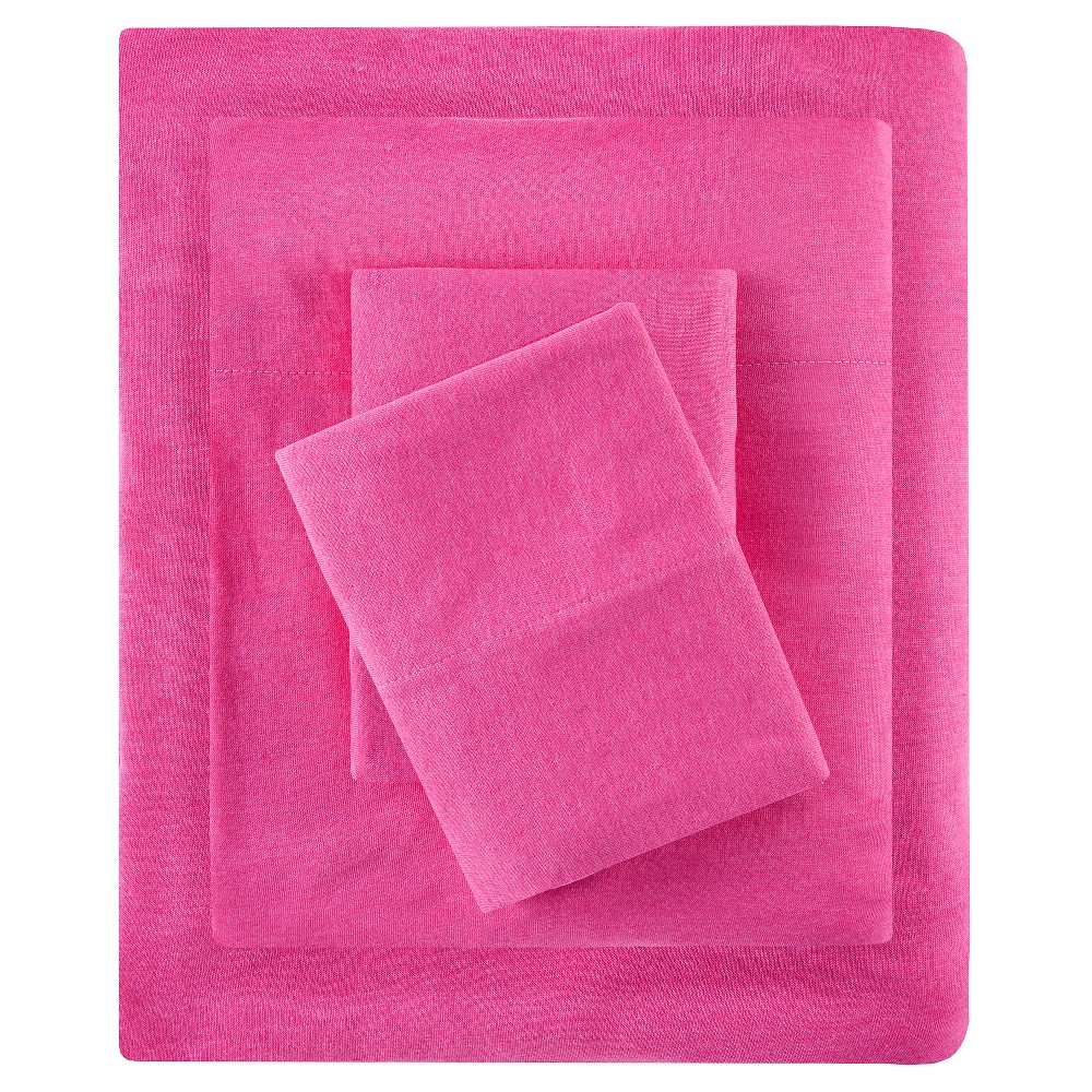 Twin Cotton Blend Jersey Knit All Season Sheet Set Pink