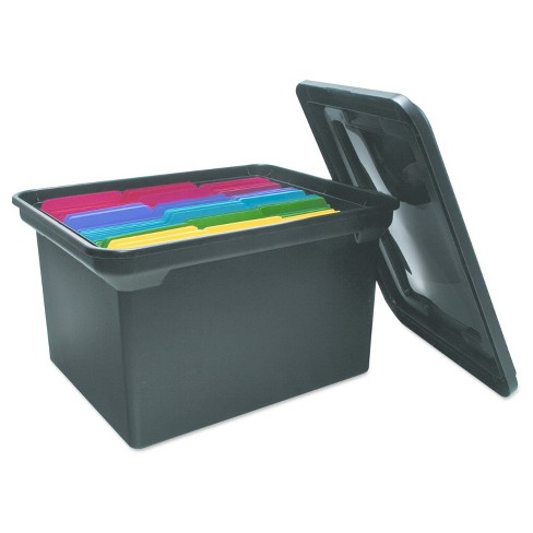 Advantus® File Tote Storage Box with Lid, Legal/Letter, Plastic, Black - image 1 of 3