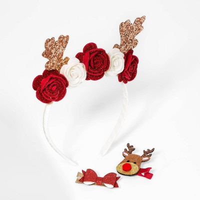 Toddler Girls' 3pk Reindeer Holiday and Clip Set - Cat & Jack™ White/Red