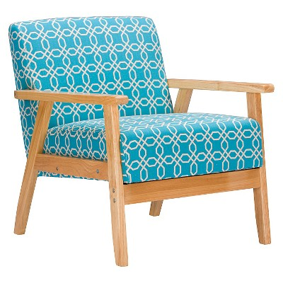 Francis Retro Mid Century Patterned Fabric Armchair Light Blue   Baxton  Studio
