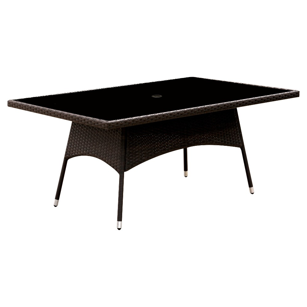 Chadwick Rectangular Modern Tempered Glass Top Patio Dining Table - Espresso - Furniture of America, Dark Brown