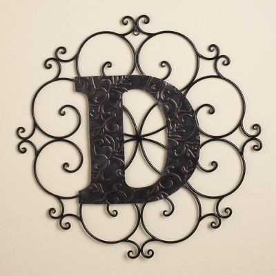 Lakeside Monogram Wall Hanging Decoration with Distressed Scrollwork Finish - Metallic