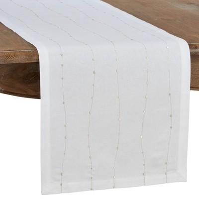 Saro Lifestyle Embroidered Design Cotton Table Runner