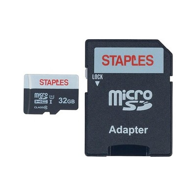 Staples 32GB High Speed Micro SDHC Card Class 10 with SD Adapter 28417