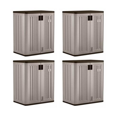 Suncast 9 Cu Ft Heavy Duty Resin Garage Base Storage Cabinet, Platinum (4 Pack) - image 1 of 4