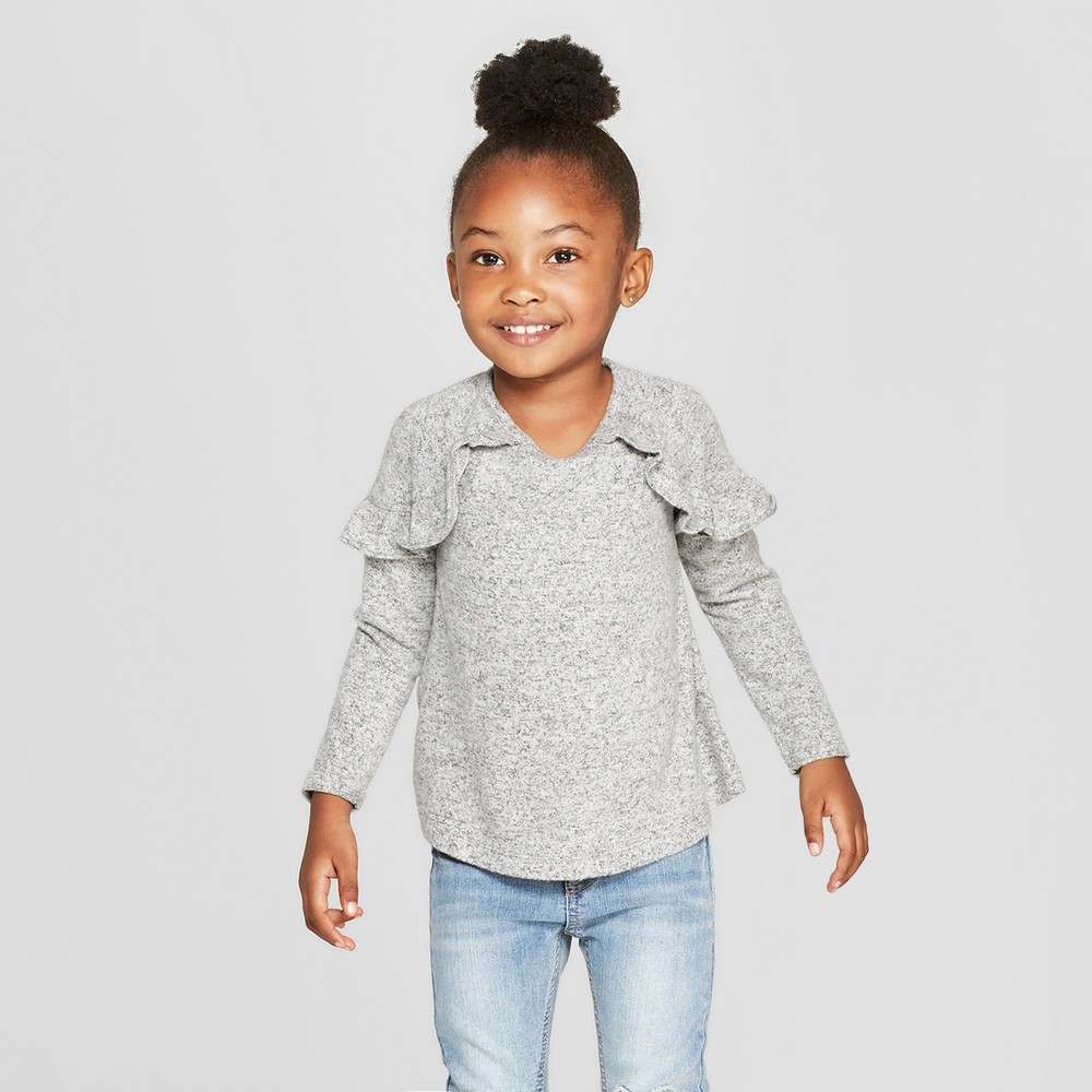 Toddler Girls' Long Sleeve Cozy Pullover Sweater - Cat & Jack Heather Gray 2T