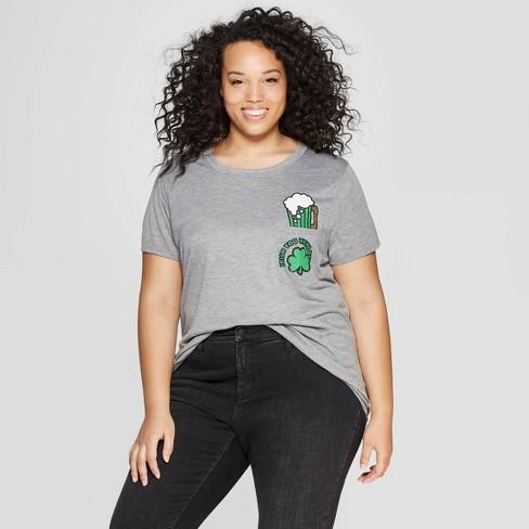 423160bbf1ec2 Women s Plus Size Short Sleeve Irish Pocket Beer T-Shirt - Modern Lux - Gray