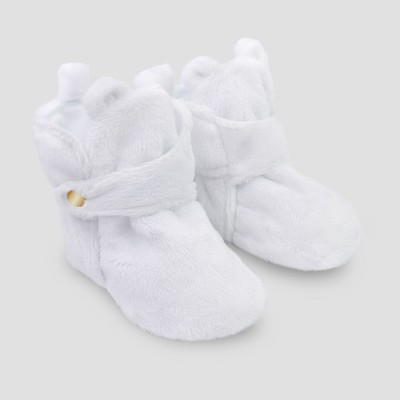 Baby Bear Crib Bootie Slippers - Cat & Jack™ White 0-3M