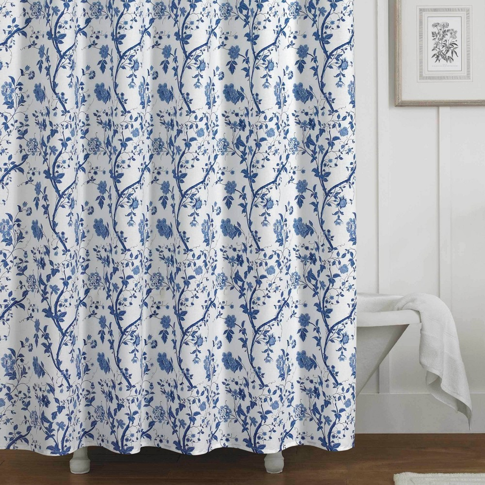 Image of Charlotte Shower Curtain Blue - Laura Ashley