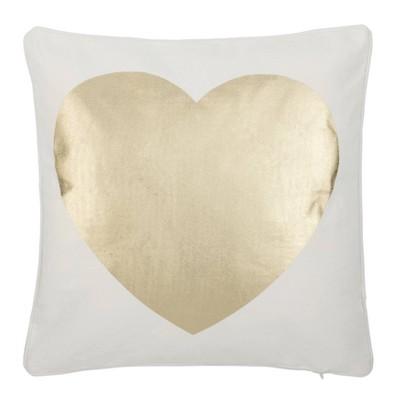 "16""x16"" ""Heart of Gold"" Square Throw Pillow White/Beige - Safavieh"