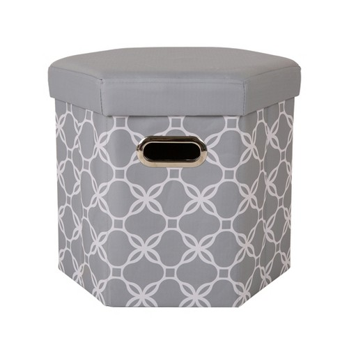 Hexahedron Foldable Storage Ottoman - Gray - Glitzhome - image 1 of 5