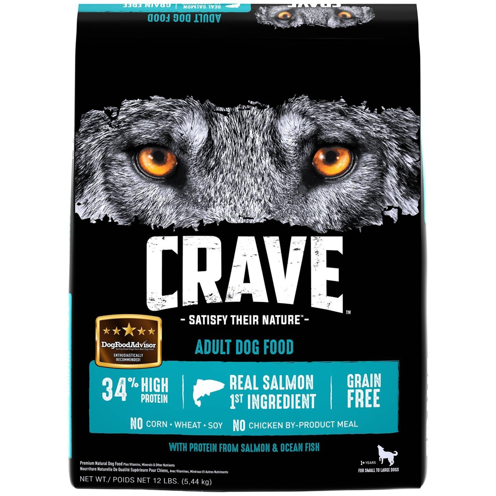Crave Grain Free High Protein With Protein From Salmon 38 Ocean Fish Adult Premium Dry Dog Food 12lbs