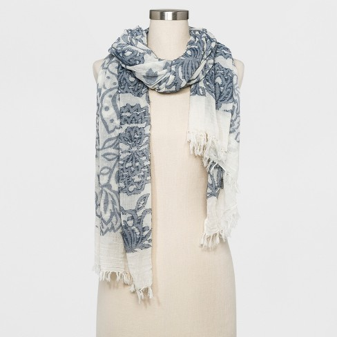Women's Floral Oversized Oblong Scarf - Universal Thread™ Blue/White - image 1 of 2