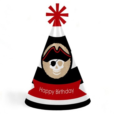 Big Dot of Happiness Beware of Pirates - Cone Pirate Happy Birthday Party Hats for Kids and Adults - Set of 8 (Standard Size)