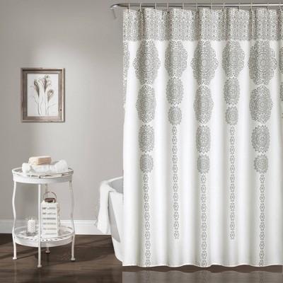Stripe Medallion Shower Curtain Gray - Lush Decor