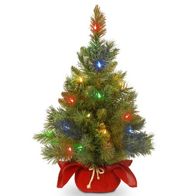 2ft National Tree Company Pre-Lit Majestic Spruce Artificial Tree in Burgundy Cloth Bag with 35 Multicolored Battery Operated LED Lights