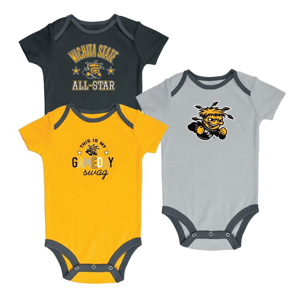 Wichita State Shockers Baby Boy Short Sleeve 3pk Bodysuit - 3-6M, Multicolored