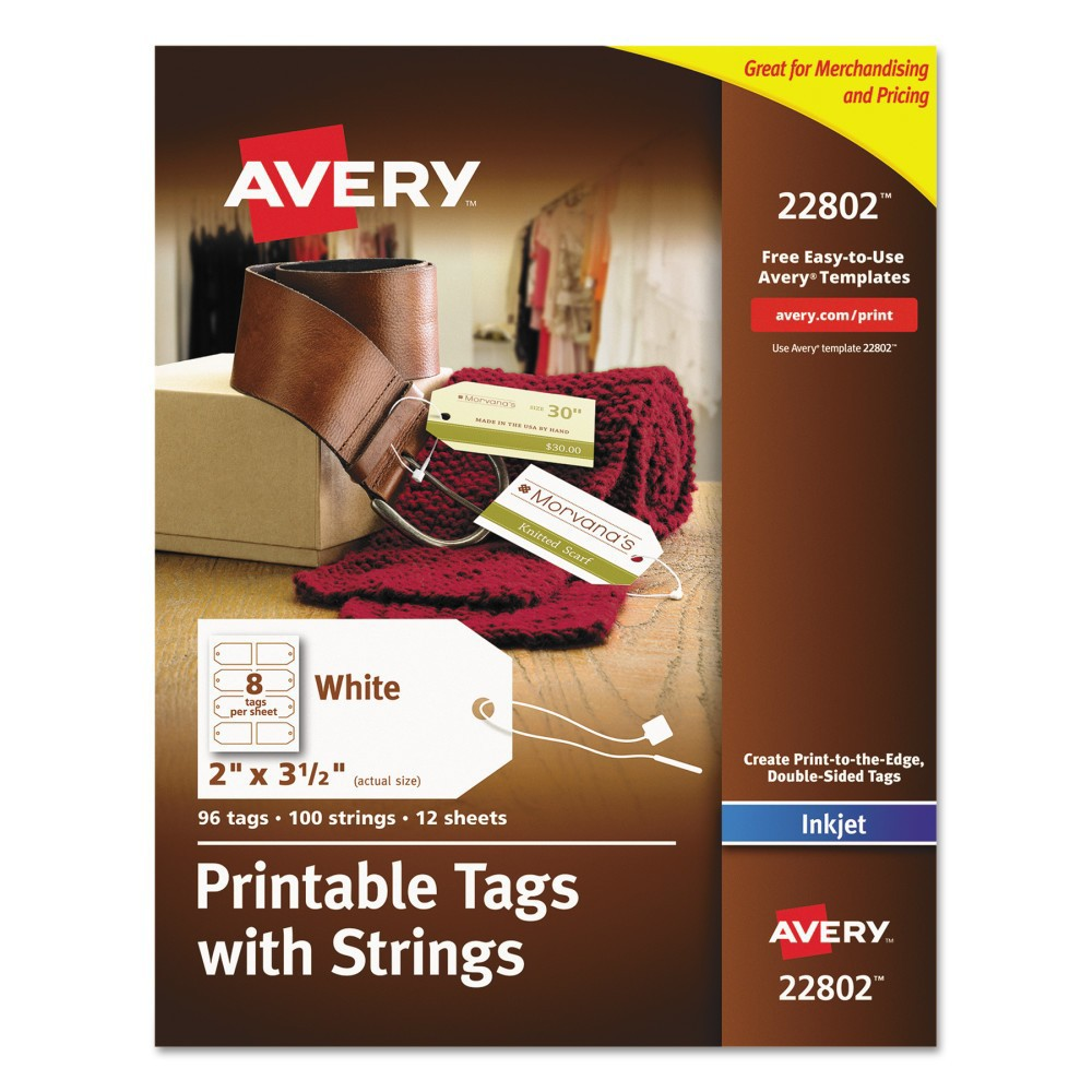 Avery Blank Printer-Compatible Tags With Strings, 2 x 3 1/2, White, 96pk Professional looking tags you design yourself by adding a company logo, branding and more. Double-sided printing feature gives plenty of room for to add a message, pricing or barcode as well. Includes Print-to-the-Edge label design allowing you to add color to the entire tag. Pre-punched holes and premium fabric strings with quick-latch fasteners to make it easy to attach or hang tags. Easy to customize with free designs, QR codes and templates from Avery Design and Print. 8 1/2  x 11  sheets compatible with laser and inkjet printers. Size: 2 x 3 1/2; Color(s): White; Material(s): Card Stock; Fastener: String.