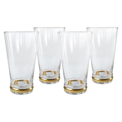 Artland Jewel Drinkware 18.86oz 4pk Highball Glasses Gold Lining