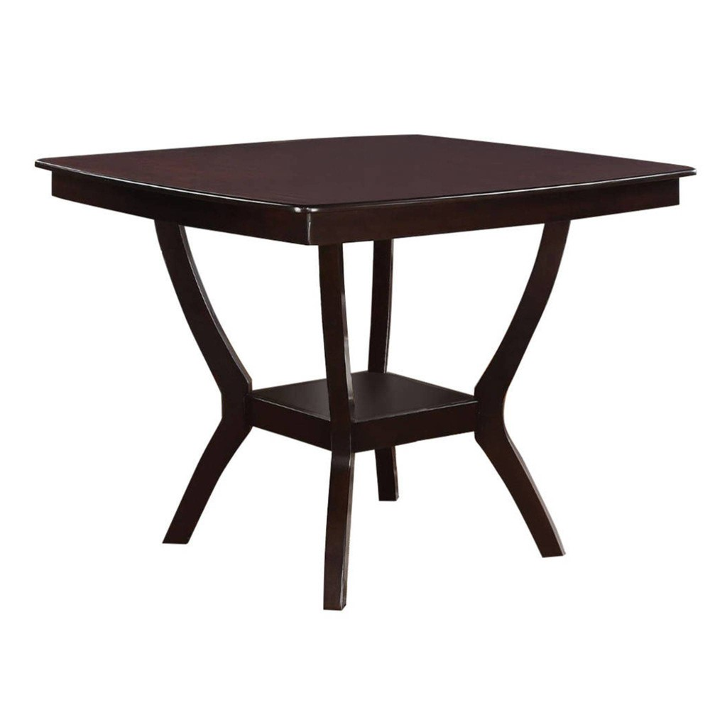 Square Shaped Wooden Counter Height Table With Bottom Shelf Benzara